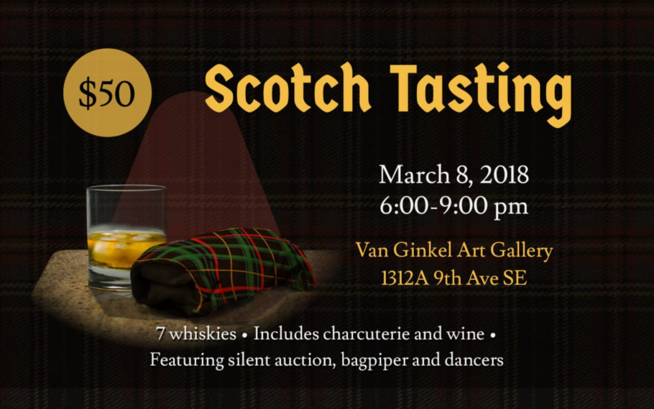 Web poster for ARK's Scotch Tasting fundraiser. A glass of whiskey and a tartan cloth is on the left side of the image, and event details are on the right.
