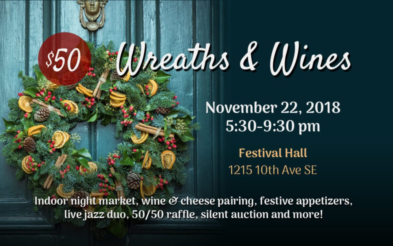 Web poster for ARK's Wreaths and Wines event. A wreath is in the left side of the image, with event details on the right.