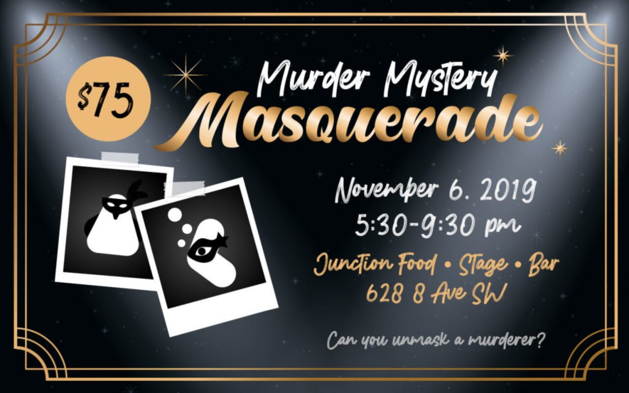 Web poster for ARK's Murder Mystery Masquerade. Two Polaroid photos of a masked fish and bird, along with event details.